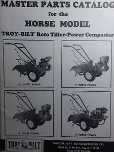 Details about Troy-Bilt HORSE Roto-Tiller Master Parts Manual 1980 on troy-bilt pony parts diagram, troy-bilt pony drive belt diagram, wheel horse rototiller belt diagram,