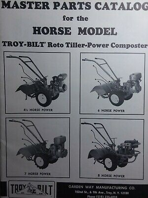 Troy Bilt Horse Roto Tiller Master Parts Manual 1980 Garden Way 4 5 6 7 8 Hp Ebay