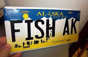 Alaska gold rush centennial style license plate fish ak for Alaska fishing license