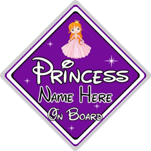 Baby On Board Purple Personalised Disney Princess On Board Car Sign