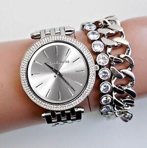 Original-Michael-Kors-Uhr-Damenuhr-MK3190-Darci-Frabe-Silber-Kristall-NEU