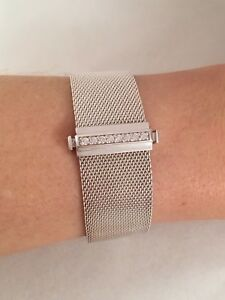 990421da33677 Details about Tiffany & Co Sterling Silver Diamond Mesh Somerset Bangle  Bracelet 6.5
