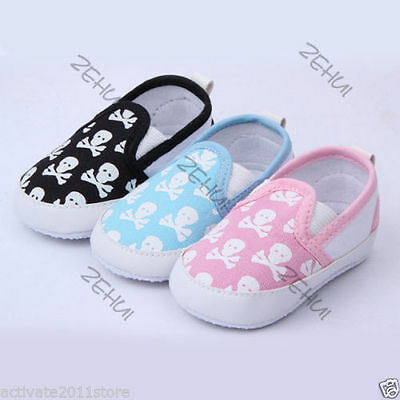 New Kids Baby Boy Girl Toddler Shoes Skull Soft Bottom Anti-Slip Prewalker Shoes