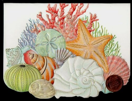 Sea Shells Conch Starfish Coral EMBOSSED Small Blank Note Card GOLD SHINE