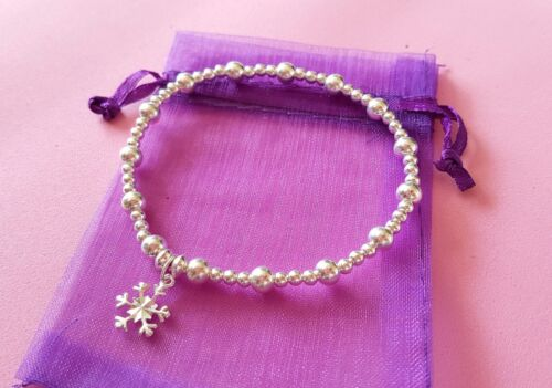 sterling silver bead bracelet stacking noodle elasticated various charms 7.3inch