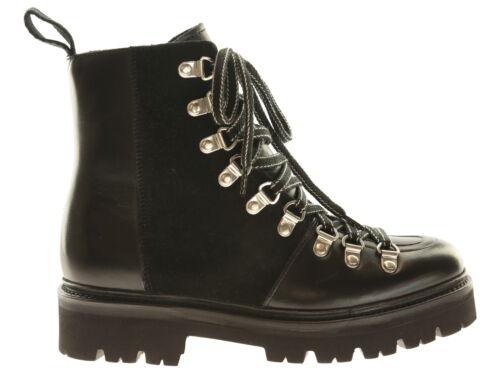 Grenson Nanette Damen-Schuhe Stiefeletten Boots Wanderstiefel Schwarz Leder