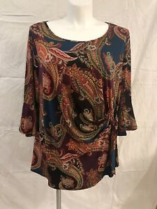 Chenault-Women-s-MultiColor-Paisley-Blouse-Bell-Sleeves-NWT