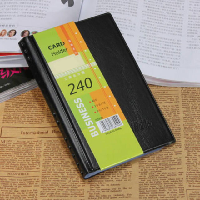Leather 240 Cards Business Name Id Credit Card Holder Book Case