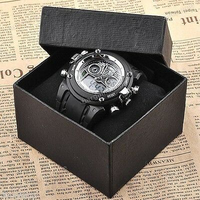 Black Stopwatch Men Sport Swimming Analog Digital Quartz Waterproof Wrist Watch