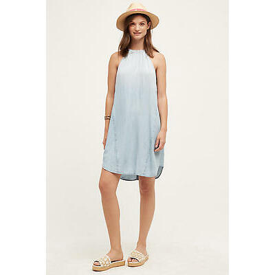 Cloth & Stone Anthropologie High Tide Halter Tunic Faded Wash Denim Dress Tie