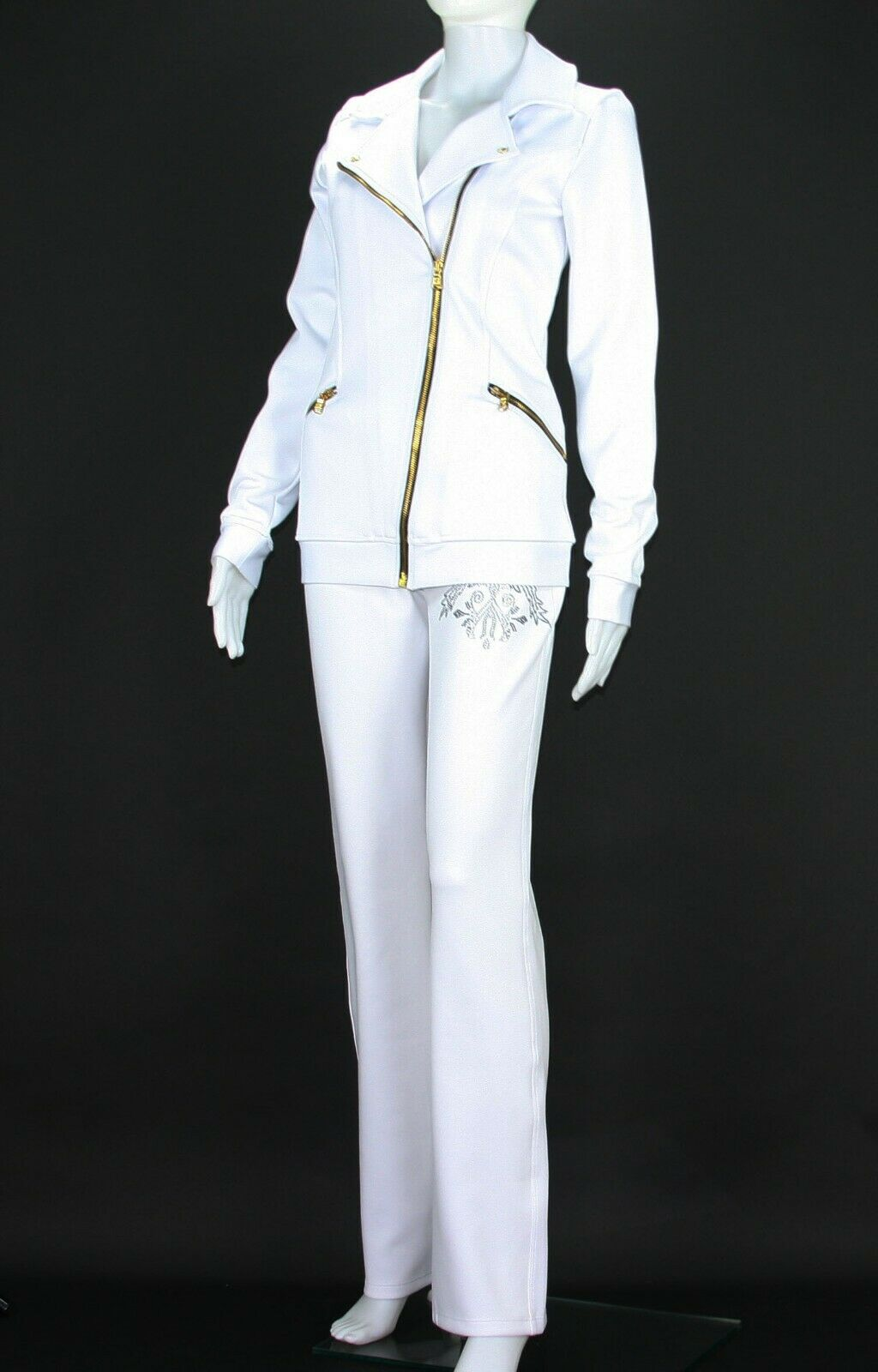 New Versace Women's White Gym Pant Suit with Crystal Embellishment 44 - US 8