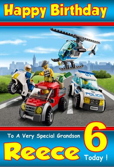 Personalised Birthday Card 3 Lego City Any Name Age Relatve Ebay