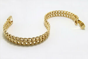 """Men/'s Real 18k Gold Layered 15mm x 9/"""" Double Curb Link Wide ID Chain Bracelet"""