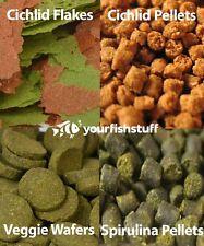 YFS Cichlid Fish Food Combo Pack #2 Flakes, Cichlid & Spirulina Pellets, Wafers
