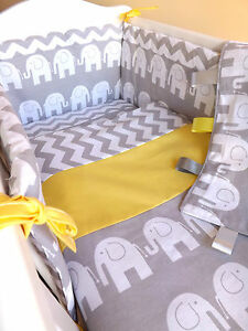 CRIB-OR-COT-OR-COT-BEDDING-SET-GREY-ELEPHANT-ZIG-ZAG-100-COTTON-made-to-order