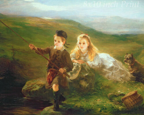 Girl Boy Highlands  8x10 Print 1497 Children Fishing in Scotland by Otto Leyde
