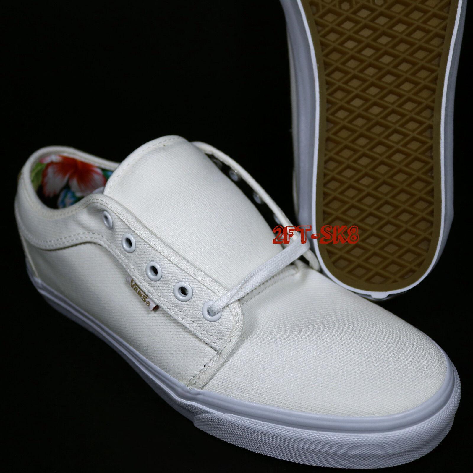 VANS CHUKKA LOW ALOHA Weiß Schuhe TWILL MEN'S 13 SKATE Schuhe Weiß // S89155.221 486448