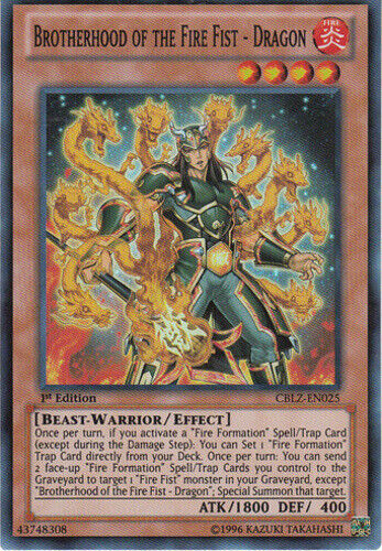 1st Edition x1 Brotherhood of the Fire Fist Dragon CBLZ-EN025 Super Rare