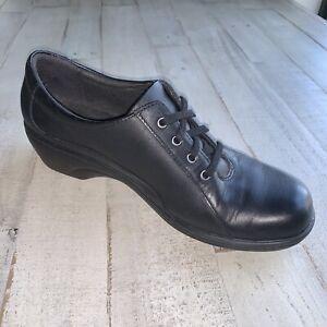 Clarks-Clogs-Slip-Resistant-Comfort-Shoes-Work-Oxfords-Mules-Black-Leather-Sz8