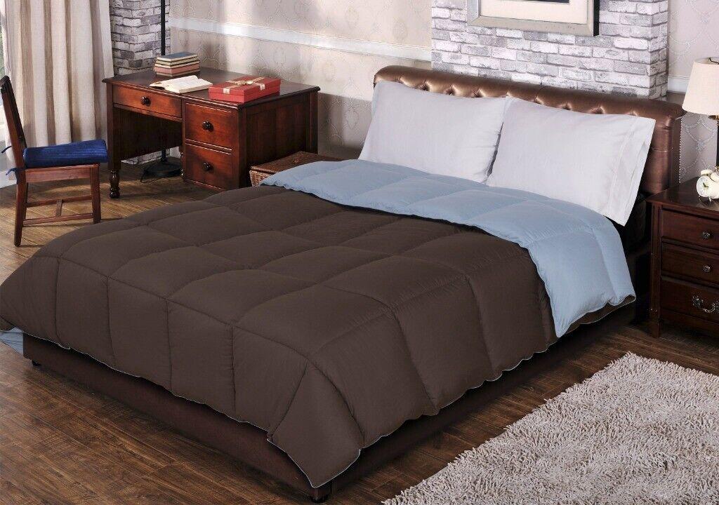 Full Queen Chocolate & Sky Blau All Season Reversible Down Alternative Comforter