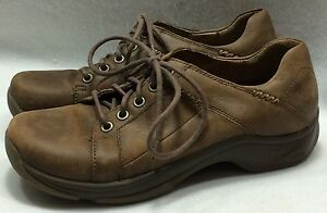 Womens Dansko 39 8.5 9 Krista Brown Distressed Leather Laces Slip Resistant Shoe