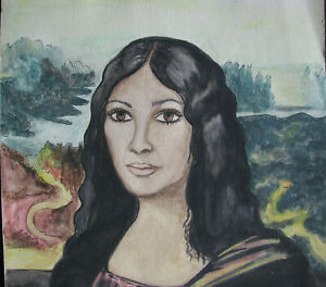 1960s-FILIPINA-MONA-LISA-12x18-034-Student-Watercolor-Painting-PAROHINOG-vintage