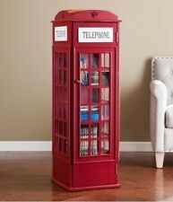 Phone Booth Media Cabinet Red Storage DVD's CD's Video Games Books Organizer