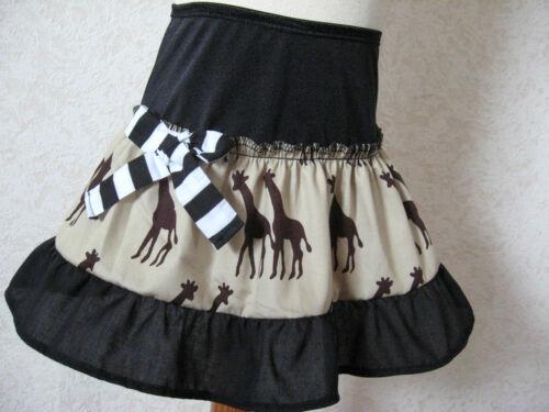 NEW  Girls Black Brown Giraffe Frilly Party Gift Skirt Dance Rock Alternative