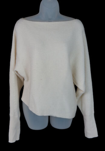 Women's Intermix White Ribbed Wool Cashmere Boat N