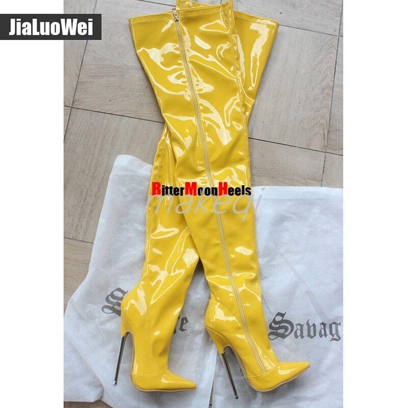 Sexy Para encima Mujer Cremallera Charol cmheel 18 encima Para de la rodilla Muslo botas Altas Zapatos Nuevos cb4c89