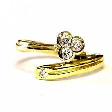 18k yellow gold .35ct VS1 G diamond bezel set wrap band ring 7.4g estate vintage