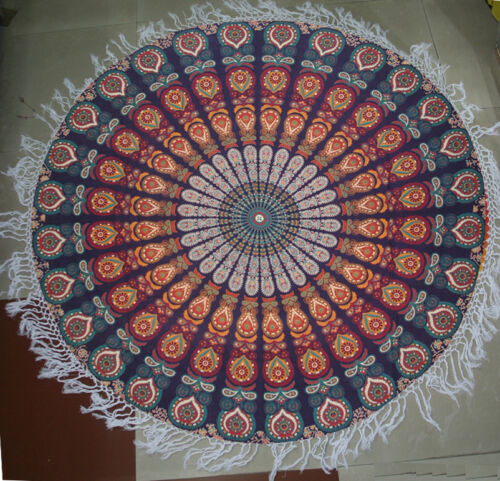 Peacock Round Mandala Wall Hanging Bohemian Beach Blanket Throw Hippie Yoga Mat