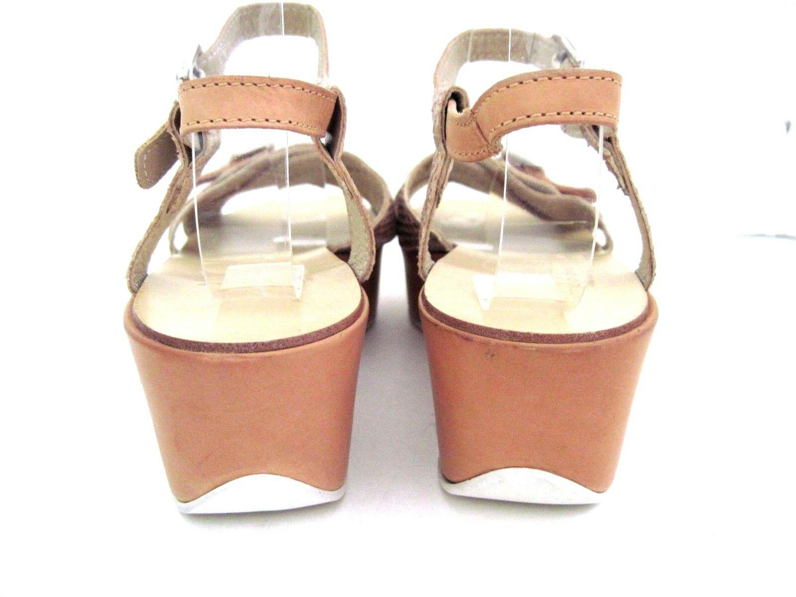 AGL Tan Leather Leather Leather oro Metallic Snake Print Flat Wedge Ankle Strap Sandal Dimensione 39 dbe19a