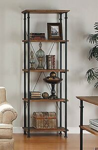 Details About Rustic Metal Wood Bookshelf Antiqued Vintage Shelves Storage Bookcase