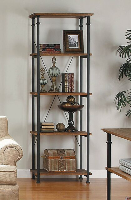 Antique Brown Shelving Unit Shelf Metal Rustic Industrial Storage Ornate Home