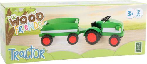 Bauernhof Holzspielzeug Woodfriends Traktor Trecker  mit Anhänger Holz