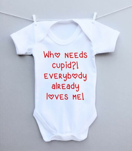 Personalised baby bodysuit vest grow 1st valentines day cupid love funny cute