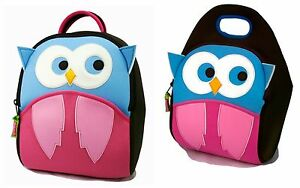 hoot owl kids girl preschool backpack and lunch bag set dabbawalla bags washable ebay. Black Bedroom Furniture Sets. Home Design Ideas