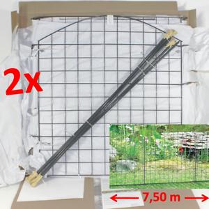 Teichzaun-Packung-2x-METALL-STECKZAUN-insgesamt-7-50-m-Zaun-Oberbogen-Grau-2-cqy