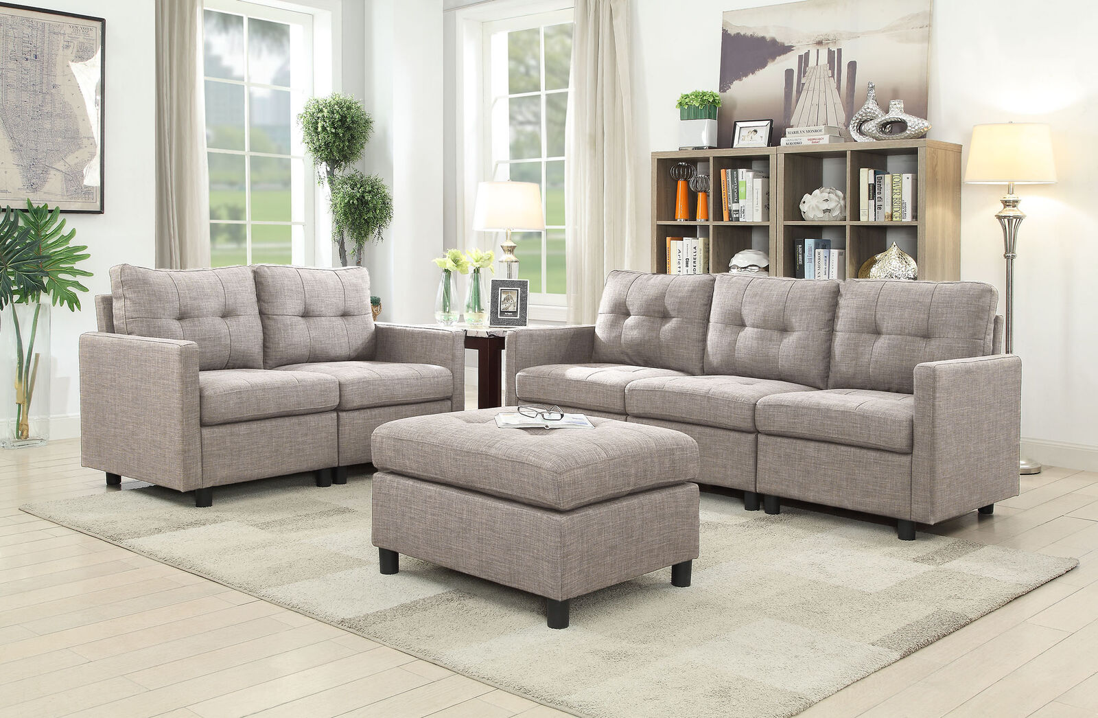 7 Pcs Contemporary Sectional Sofa Set Couch Microsuede Reversible Chaise Black