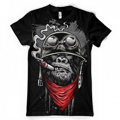Ape Of Duty Smoking Gorilla Dtg Full Color Black T Shirt 100% Garantie