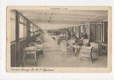 Cunard Line Garden Lounge RMS Aquitania Vintage Shipping Postcard 325a