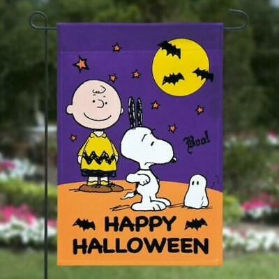 Peanuts SNOOPY Fall HALLOWEEN  Garden  Flag 12x18 WOODSTOCK Bats