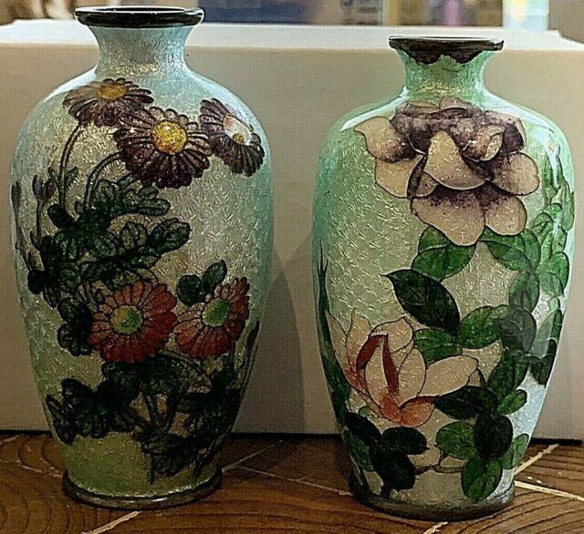 SET 2 Antique/Vintage Japanese Cloisonne Foil Vases. Floral.  3.5