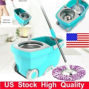 360-Spin-Mop-Stainless-Steel-Bucket-Set-w-Rotating-Magic-Floor-Microfiber-Head