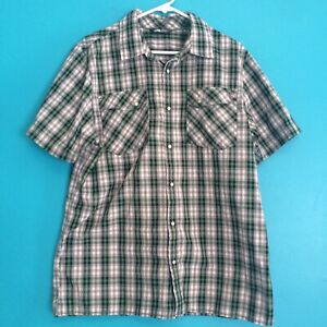 The-North-Face-Esken-Gray-Green-Plaid-Pearl-Snap-Button-Shirt-Mens-Large