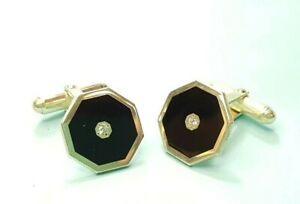 925 Sterling Silver Simulated Onyx Cuff Links
