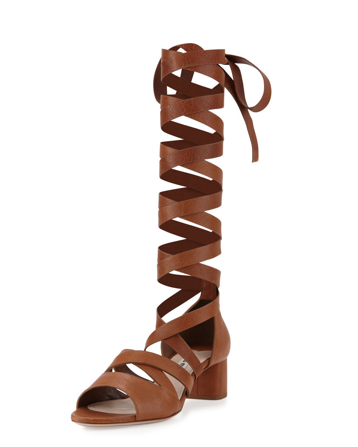 695 Miu Miu Lace -Up Gladiator  oro Leather Sandals Dimensione 38.5 NIB  forma unica