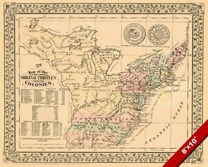 Image Is Loading 1776 Map Original 13 Colonies Of United States