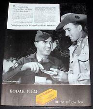 1945 OLD WWII MAGAZINE PRINT AD, EASTMAN KODAK, THEY WON'T FEEL LIKE STRANGERS!